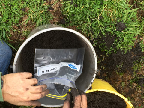 Bagging a soil sample